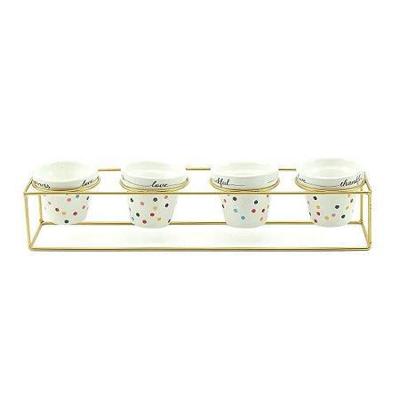 Kit 4 Vasos de Porcelana e Suporte de Ferro Mini Dots