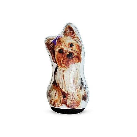 Peso De Porta Cachorro Yorkshire Laço Roxo