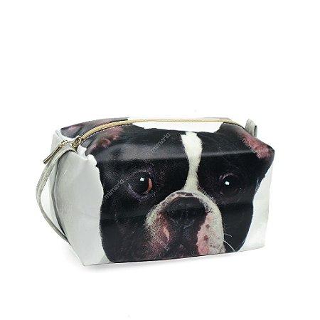 Necessaire Estampada Grande Cachorro Bulldog Francês Preto e Branco
