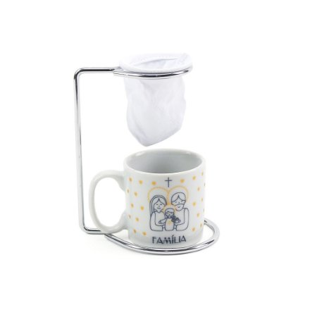 Kit Mini Caneca de Porcelana com Coador Vida Família