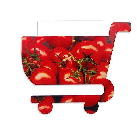 Porta-Lembretes em Aço Carrinho de Compras Tomate