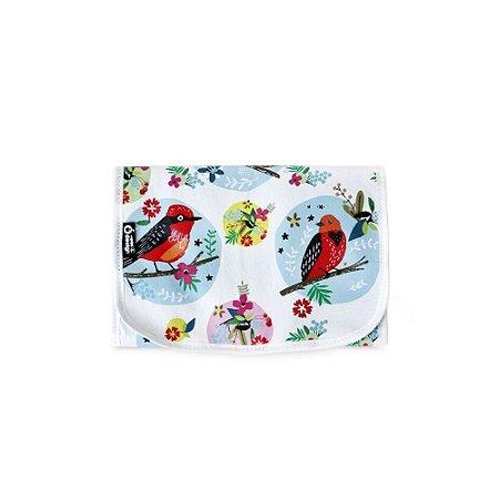 Necessaire de Viagem Dobrável Pássaros e Flores