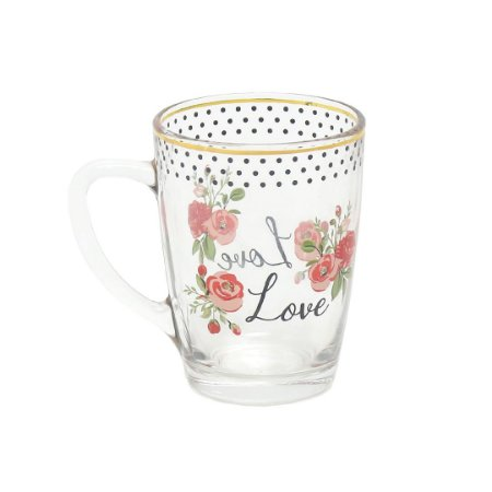 Caneca de Vidro Romance Gold Love 300 ml