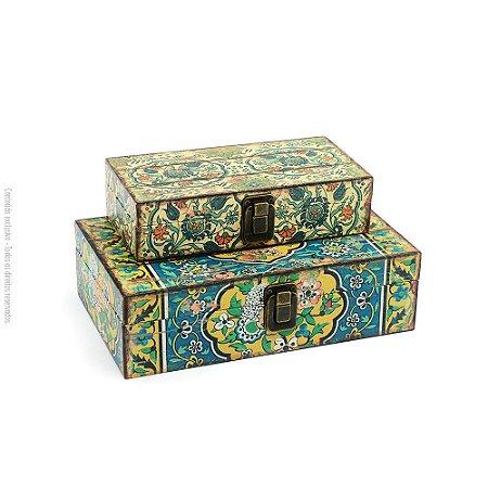 Conjunto 2 Caixas com Fecho Flores Azul Vintage