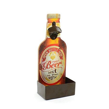 Placa em Madeira Abridor de Garrafa com Apoio Original Beer Vermelha