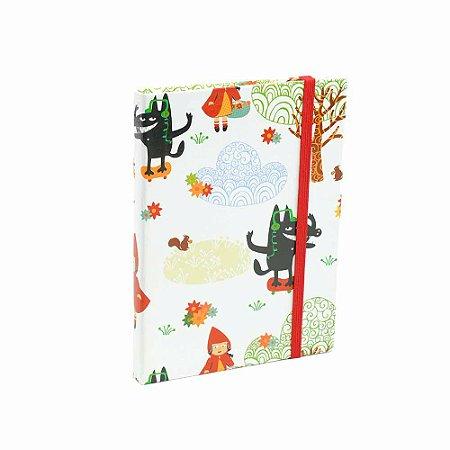 Caderno Médio Capa Dura com Elástico Chapeuzinho Vermelho