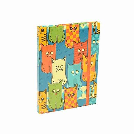 Caderno Médio Capa Dura com Elástico Cats Gang