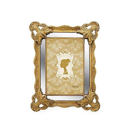 Porta Retrato de Resina Espelhado Dourado 10x15