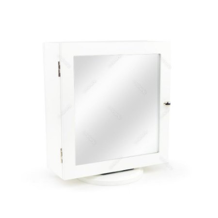 Espelho de Mesa Porta Joias Dupla Face Branco