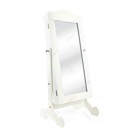 Espelho de Mesa Porta Joias Grande Branco
