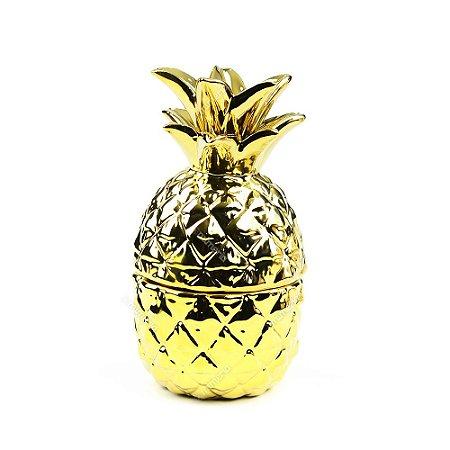 Pote de Cerâmica Abacaxi Dourado