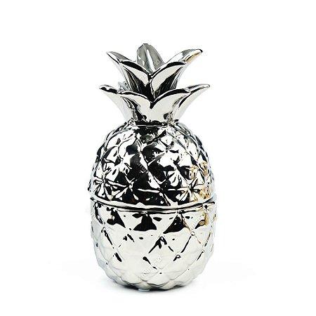 Pote de Cerâmica Abacaxi Prata
