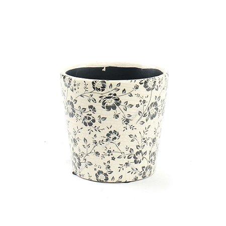 Cachepô de Cerâmica Médio Floral Preto