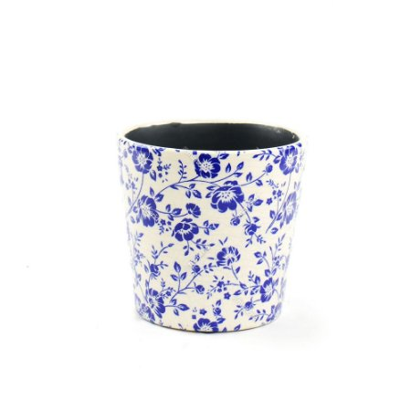 Cachepô de Cerâmica Médio Floral Azul
