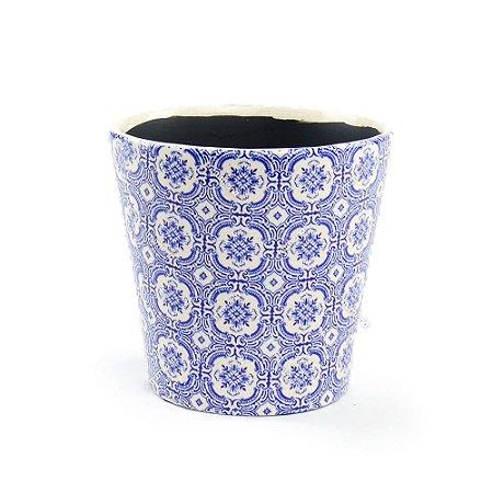 Cachepô de Cerâmica Grande Azulejo Português Azul