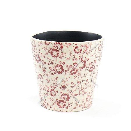 Cachepô de Cerâmica Grande Floral Marsala
