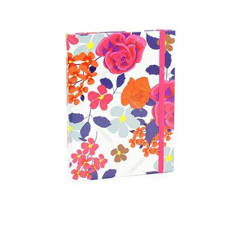Caderno Médio Capa Dura com Elástico Floral Color