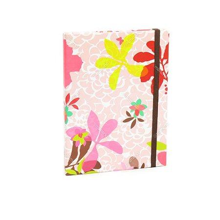Caderno Médio Capa Dura com Elástico Floral Borboleta