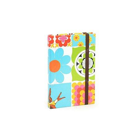 Caderninho Capa Dura com Elástico Azulejo