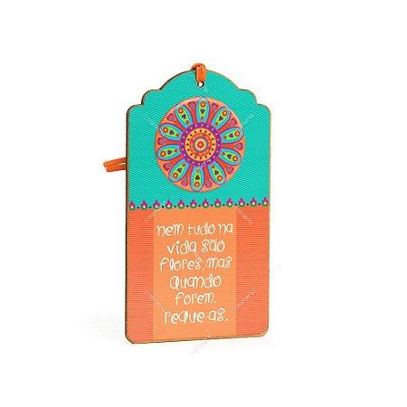 Plaquinha Tag Mandala Flor Laranja