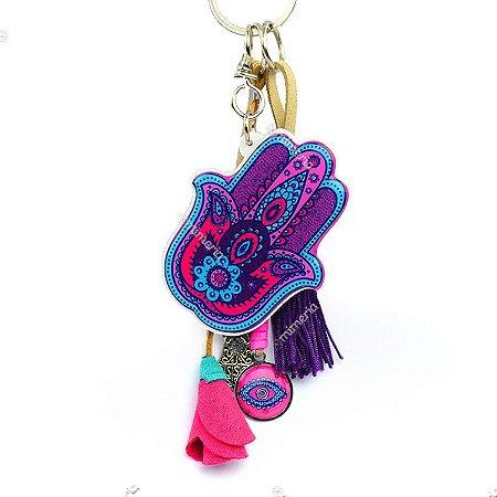 Chaveiro Hamsa Mão de Fátima Lilás