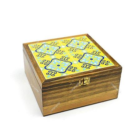 Caixa de Chá Pinus Ladrilho Amarelo