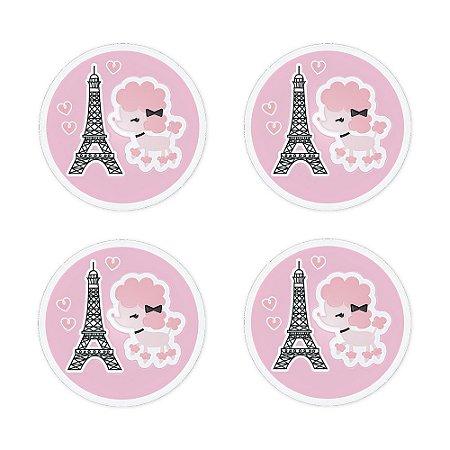 Porta Copo Silicone Paris 4 peças