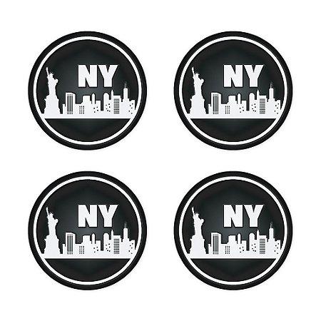 Porta Copo Silicone New York 4 peças