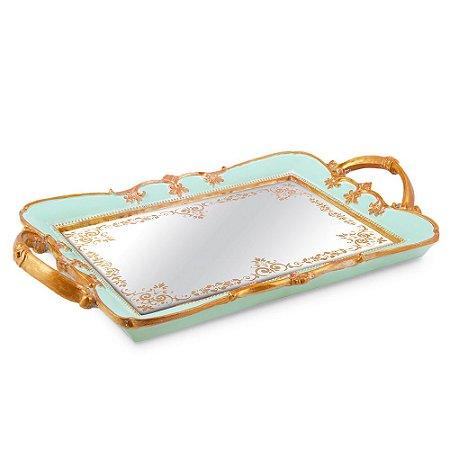 Bandeja em Resina com Espelho Azul Grande