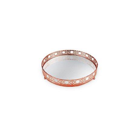 Bandeja em Metal Redonda com Espelho Cobre Ornamentada Pequena