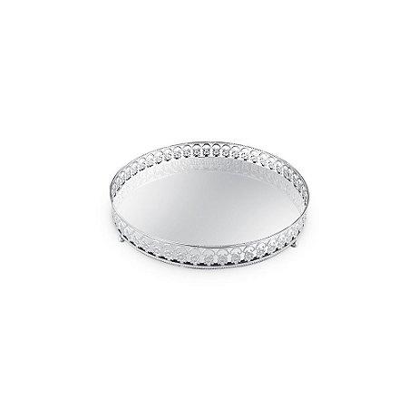 Bandeja em Metal Redonda com Espelho Prata Floral Pequena