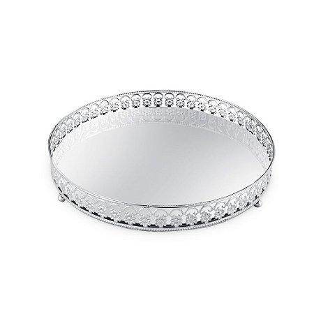 Bandeja em Metal Redonda com Espelho Prata Floral Grande