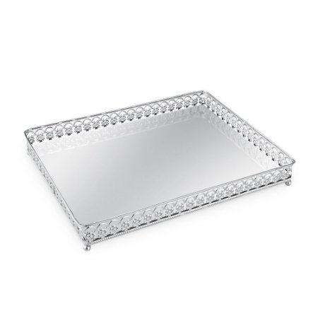 Bandeja em Metal Retangular com Espelho Prata Floral Grande