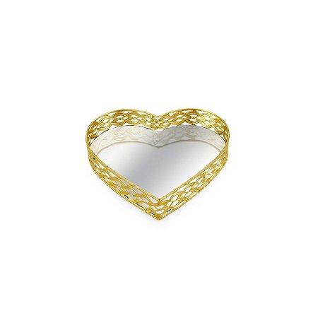 Bandeja em Metal Coração com Espelho Dourada Pequena