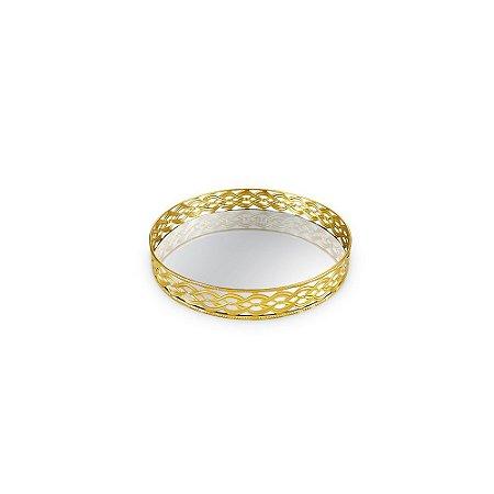 Bandeja em Metal Redonda com Espelho Dourada Trançada Pequena