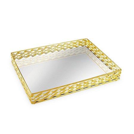 Bandeja em Metal Retangular com Espelho Dourada Trançada Grande
