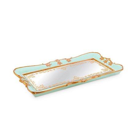 Bandeja em Resina com Espelho Azul Pequena