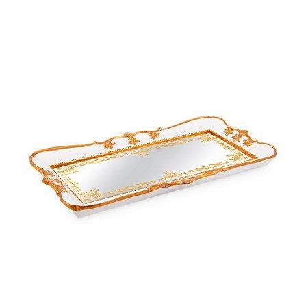 Bandeja em Resina com Espelho Branca Pequena