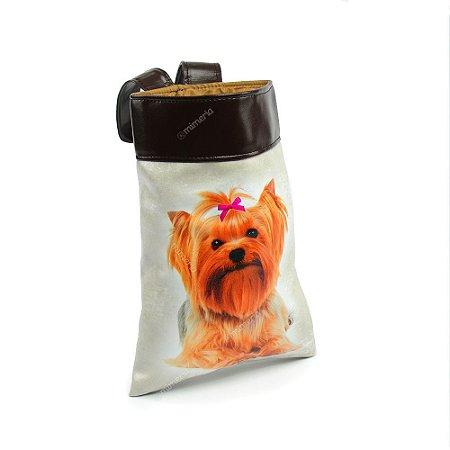 Lixeira de Carro Cachorro Yorkshire Laço Rosa