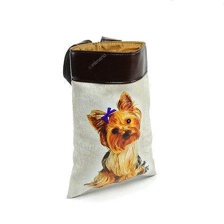 Lixeira de Carro Cachorro Yorkshire Laço Roxo