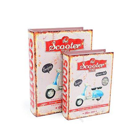 Conjunto 2 Livros Caixa Decorativos Scooter