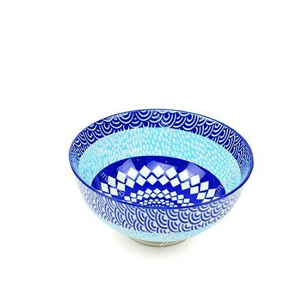 Bowl de Cerâmica Pequeno Faixas Tons de Azul