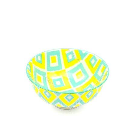 Bowl de Cerâmica Pequeno Geométrico Amarelo e Verde