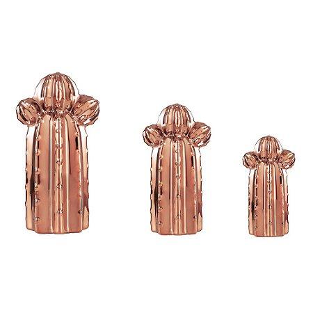 Conjunto 3 Cactos em Cerâmica Cobre Orelha de Urso