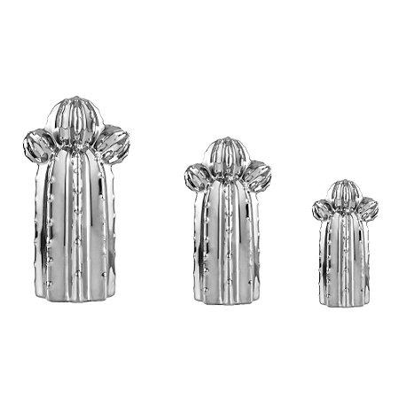 Conjunto 3 Cactos em Cerâmica Prata Orelha de Urso