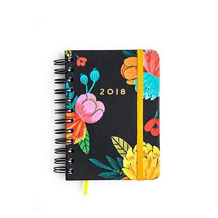 Agenda Média Floral Vintage Preta 2018
