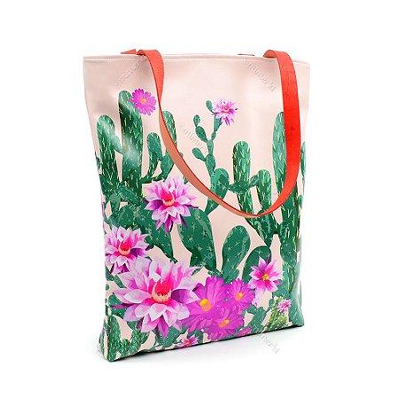 Bolsa Sacola Estampada Cactos e Flores