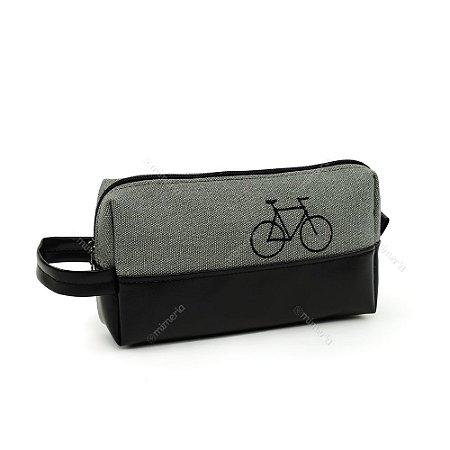 Necessaire Estampada Grande Bike Preta e Cinza