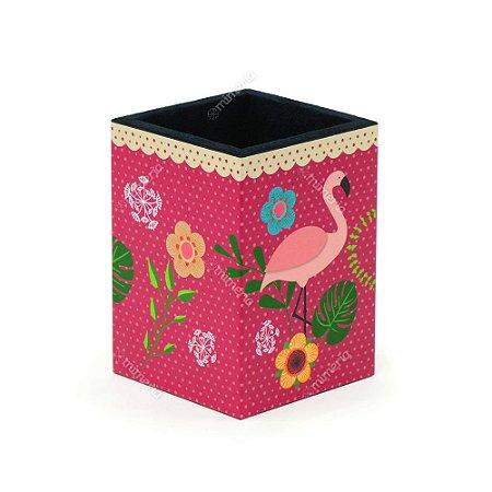 Porta-Lápis Decorado Flamingo