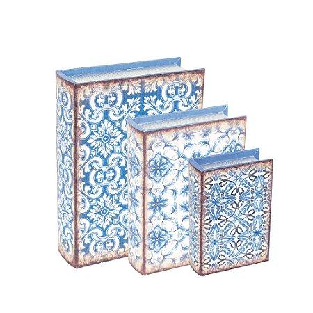 Conjunto 3 Livros Caixa Decorativos Ornamental Azul